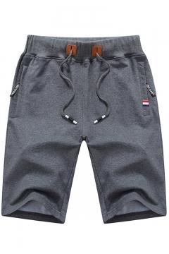 Men's New Trendy Drawstring Waist Fashion Zip-Pocket Sport Running Sweat Shorts