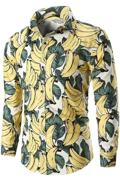 Summer Tropical Banana Pattern Mens Casual Long Sleeve Button-Up Shirt