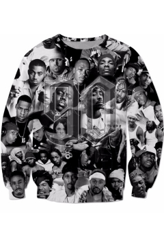Hip Hop American Rapper Cool 3D Portrait Printed Round Neck Pullover Black Sweatshirt