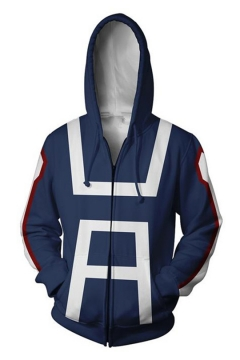 3D Printed Cosplay Costume Long Sleeve Blue Zip Up Hoodie