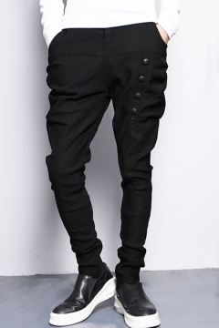 Mens Cool Button-Embellished Simple Plain Night Club Stretch Black Baggy Harem Pants