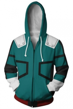 3D Cool Prinetd Cosplay Long Sleeve Zip Up Hoodie in Green