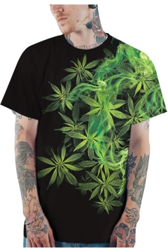 Fashion 3D Green Smoke Weed Printed Round Neck Short Sleeve Black Loose T-Shirt