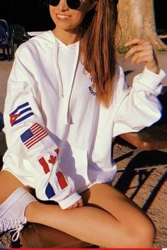 Loose Long Sleeve Flag Printed Cozy Leisure White Hoodie