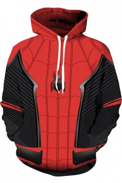Spider Man Far From Home 3D Cosplay Costume Sport Casual Red Drawstring Hoodie