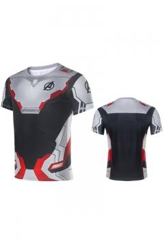 The Avengers 4 Quantum Battle Suit Cosplay Costume Fitness Short Sleeve T-Shirt