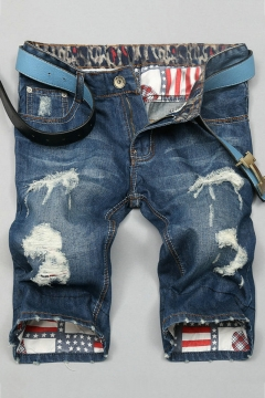 Summer New Fashion Flag Patched Inside Cool Skull Print Ripped Destroyed Light Blue Fitted Denim Shorts for Guys