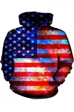 Unique Cool 3D Galaxy American Flag Printed Pullover Loose Hoodie
