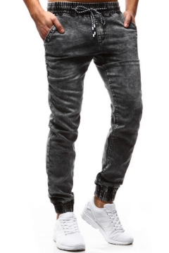 Retro Washed-Denim Drawstring-Waist Elastic Cuff Guys Casual Fitted Jeans