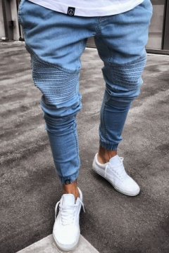 Guys Cool Fashion Elastic-Cuff Solid Color Pleated Slim Jeans