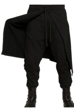 Men's Street Fashion Basic Plain Drawstring Waist Wrap Back Black Cotton Baggy Pants