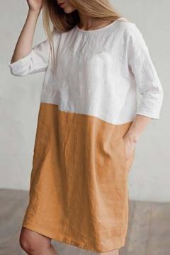 2ab3f2384f9 Trendy Colorblock Patched Round Neck Three-Quarter Sleeve Midi Linen Shift  Dress