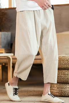 40b4603b4149 Summer New Trendy Basic Plain Casual Loose Linen Straight-Leg Cropped Pants  for Men