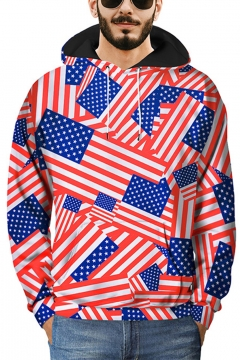 New Stylish 3D Flag Printed Guys Long Sleeve Casual Loose Pullover Red Hoodie