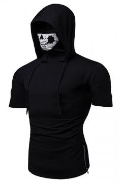 Men's New Stylish Zip Side Plain Short Sleeve Fitness Skull Mask Hooded T-Shirt