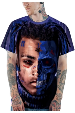 Popular American Rapper 3D Figure Printed Short Sleeve Loose Relaxed T-Shirt in Purple