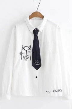 74881d6ec38c26 Cute Cartoon Cat Printed Tied Collar Long Sleeve Basic White Cotton Shirt