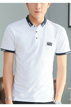 Teenagers Summer Casual Loose Contrast Trim Classic-Fit Cotton Polo Shirt