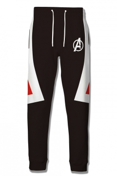 Cosplay Costume Drawstring Waist Black Sport Sweatpants
