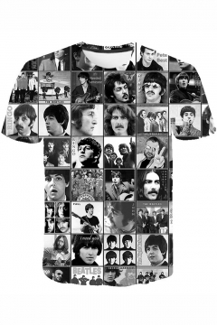 New Trendy Rock Band Popular Figure Printed Short Sleeve Black T-Shirt