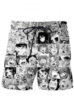 Ahegao Popular Comic Girl Printed Drawstring Waist Dry-Fit Unisex Casual Sport Athletic Black Shorts