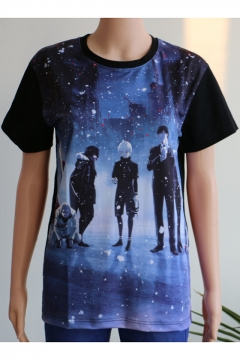 Fashion Comic Character Galaxy Printed Silk Relaxed Fit Blue T-Shirt