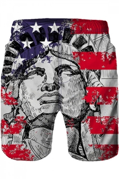 The Statue of Liberty Cool Flag Printed Summer Beach Swim Trunks