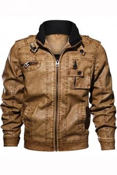 Guys Unique Cool Stand Collar Long Sleeve Retro Wash Zip Closure PU Biker Jacket