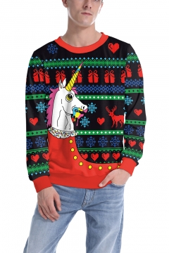 Unisex Funny Christmas Unicorn Print Round Neck Long Sleeve Sweater Jumper