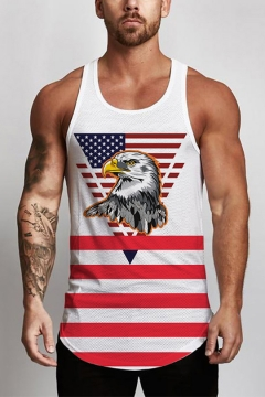 24ffbff7d52268 Guys Cool Eagle Flag Printed Scoop Neck Sleeveless White Casual Tank Top