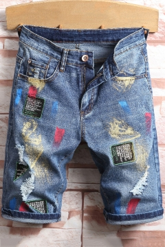 b28c11d32b Guys Street Style Cool Letter Embroidered Ripped Detail Rolled-Cuff Light Blue  Fitted Denim Shorts