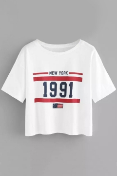 Summer Flag Letter NEW YORK 1991 Printed Round Neck Short Sleeve Cropped Tee for Women