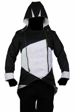 Creed Cosplay Costume Colorblock Long Sleeve Hooded Double Zip Placket High Low Hem Comic Jacket