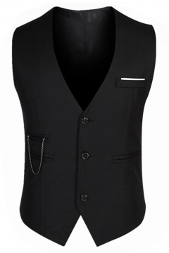Fashionable Solid Chain Embellished Buckle Back Button Down Slim Fit Mens Suit Vest