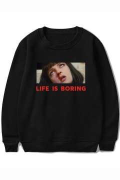 b3a6a5409 Pulp Fiction LIFE IS BORING Long Sleeve Round Neck Basic Pullover Casual  Sweatshirt