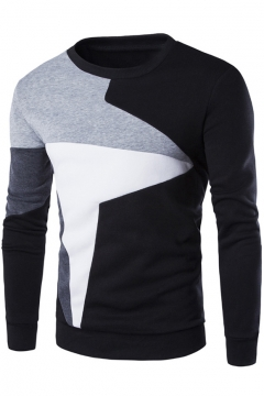 New Arrival Fashion Color Block Round Neck Long Sleeve Mens Pullover Sweater