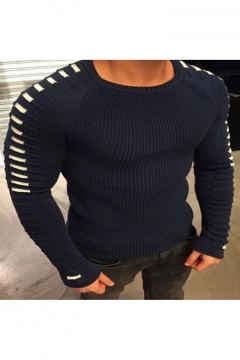Men's Fashion Round Neck Long Sleeve Pleated Knit Pullover Sweater
