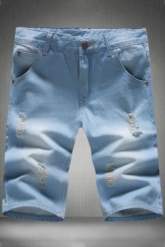 21a3db20bd Vintage Destroyed Ripped Detail Mens Slim Fit Light Blue Denim Shorts