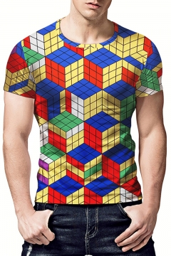 Summer Cool 3D Magic Cube Printed Short Sleeve Round Neck T-Shirt