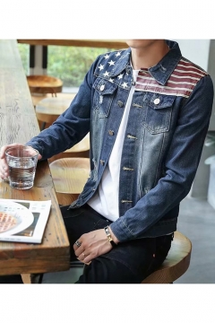 New Stylish Flag Printed Lapel Collar Long Sleeve Button Closure Fitted Blue Denim Jacket for Men