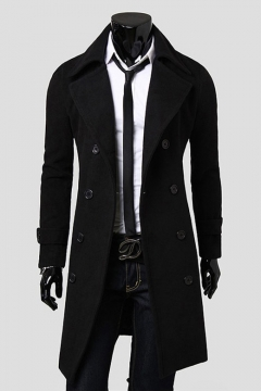Men's New Fashion Plain Notched Lapel Collar Long Sleeve Double Breasted Wool Peacoat