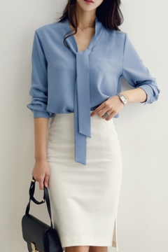 Womens Fashion Simple Plain Tied Collar Long Sleeve Chiffon Blouse