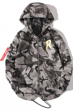 Men's Casual Letter Camouflage Print Long Sleeve Fishtail Hem Zip Closure Hooded Jacket