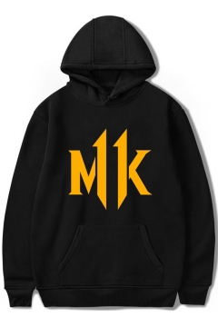 Mortal Kombat Popular Game Simple Letter MK Print Casual Hoodie
