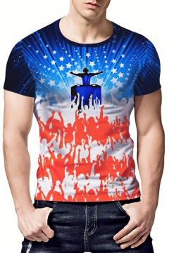 New Fashion Creative Galaxy Printed Short Sleeve Blue and White T-Shirt