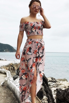 Boho Style Elastic Floral Printed Off the Shoulder Crop Top with Split Front Maxi Skirt Co-ords