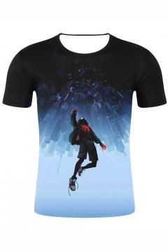 Cool 3D Figure Print Short Sleeve T-Shirt