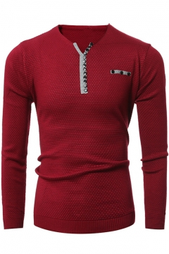 Men's Simple Leisure Jacquard V-Neck Buttons Patched Long Sleeve Pullover Sweater
