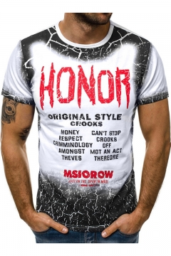 Street Fashion Cool Ombre Letter HONOR Print Short Sleeve Round Neck T-Shirt for Men