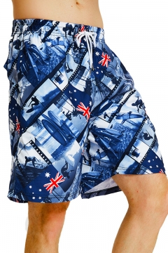 11ba1ba4ce Unisex Fashion Surfer Flag Printed Drawstring Waist Loose Quick-Dry Flap  Pocket Back Blue Swim